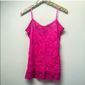 Pink Lace Trimmed Crinkle Camisole